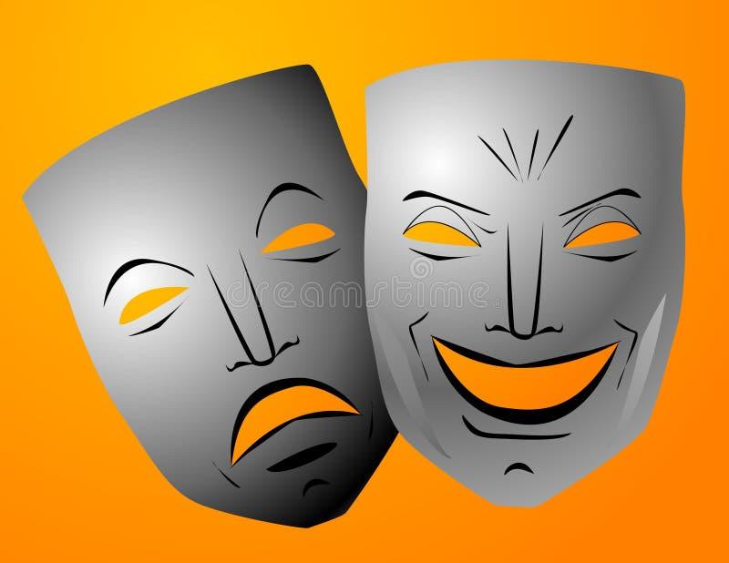 Máscaras da comédia e da tragédia ilustração stock