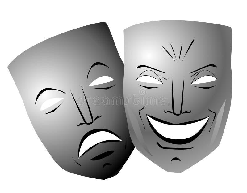 Máscaras da comédia e da tragédia ilustração royalty free
