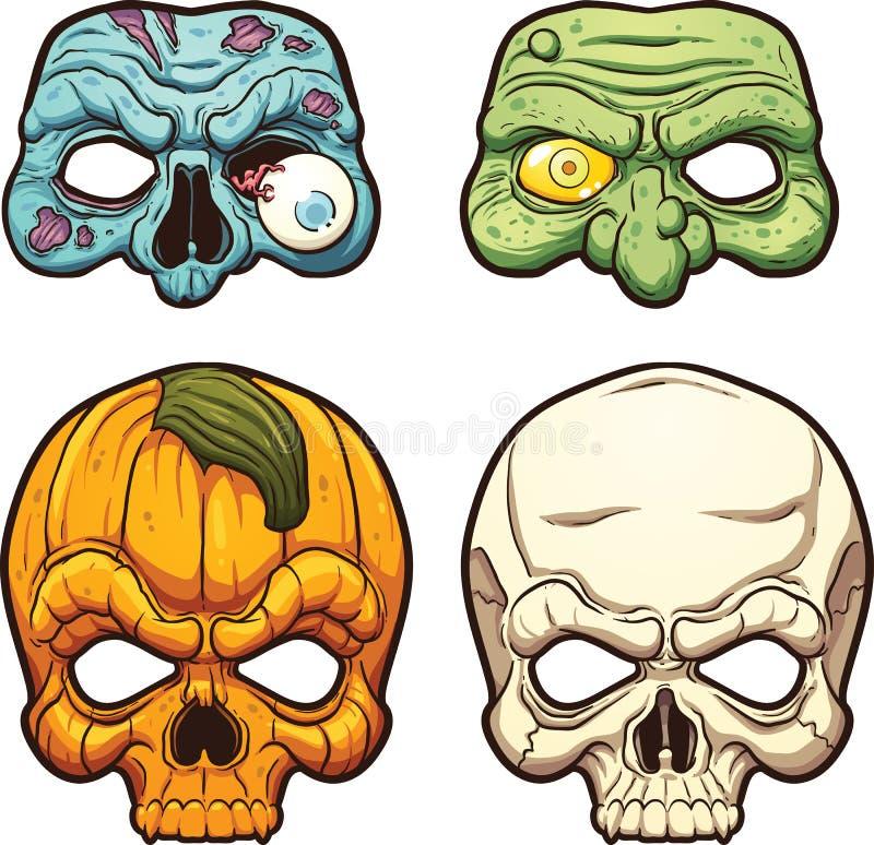 Máscaras de Halloween ilustración del vector