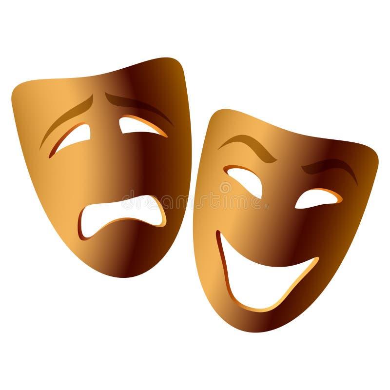 Máscaras de la comedia y de la tragedia del vector stock de ilustración