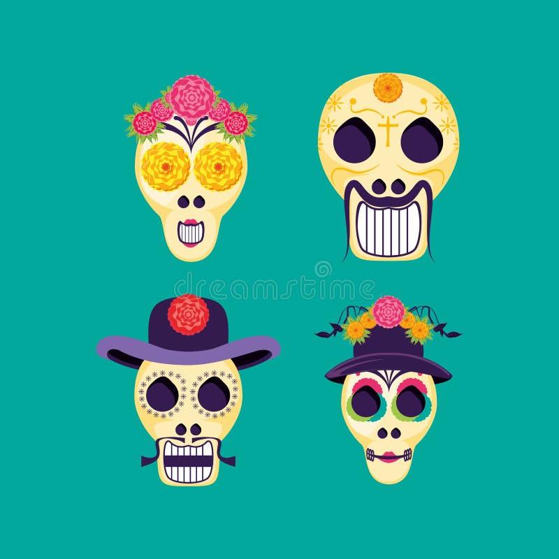 Máscaras de la muerte de santa con los iconos ilustración del vector