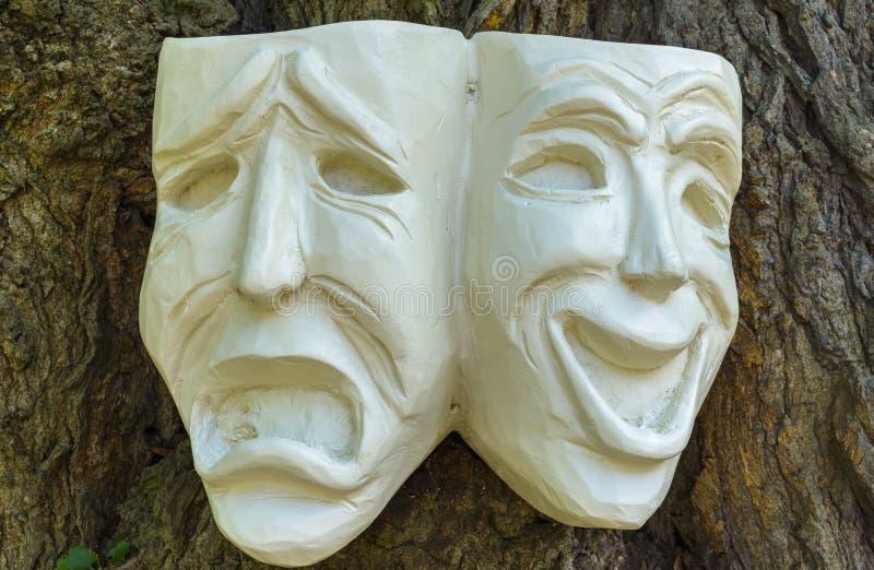 Máscaras de la tragedia de la comedia imágenes de archivo libres de regalías