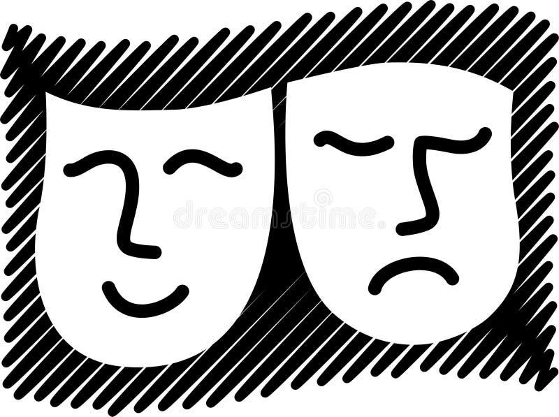 Máscaras de la tragedia de la comedia ilustración del vector