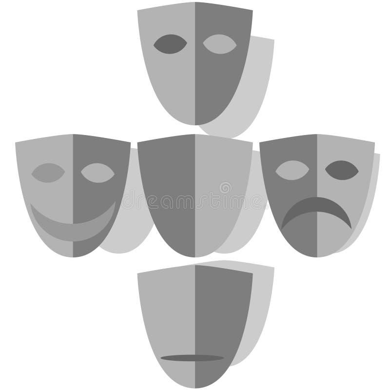 Máscaras de las emociones stock de ilustración