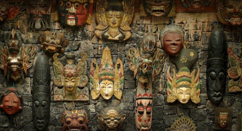 Máscaras de madeira do Balinese fotografia de stock royalty free