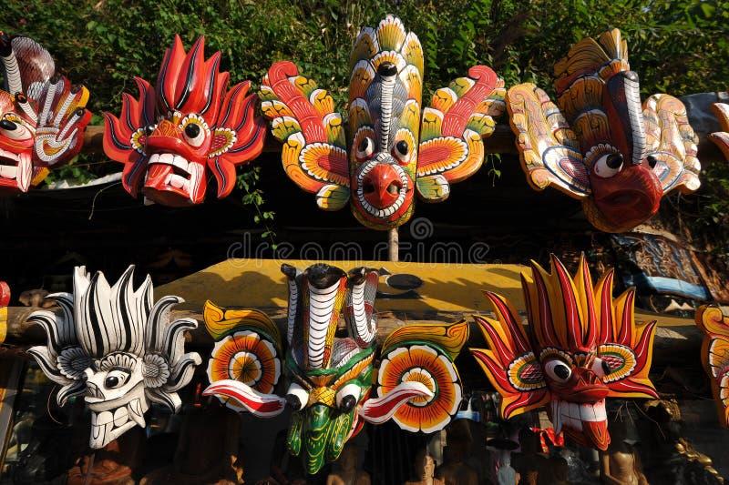 Máscaras de madera en Sri Lanka fotos de archivo