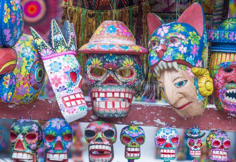 Máscaras de madera mayas foto de archivo