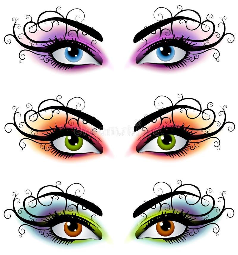 Máscaras de olhos fêmeas decorativas ilustração do vetor