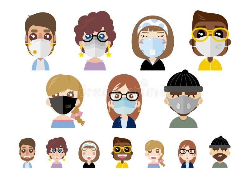 Máscaras de poeira vestindo dos povos na ilustração branca do vetor do fundo ilustração do vetor