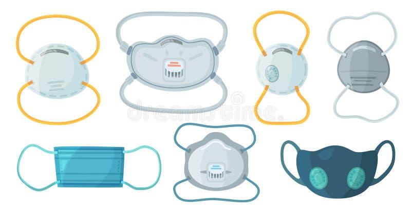 Máscaras de respiración de la seguridad Máscara de la seguridad en el trabajo N95, respirador de la protección del polvo y máscar stock de ilustración