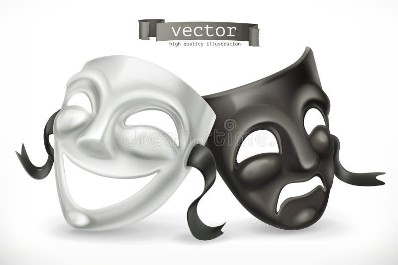 Máscaras de teatro blancos y negros Comedia y tragedia, icono del vector ilustración del vector