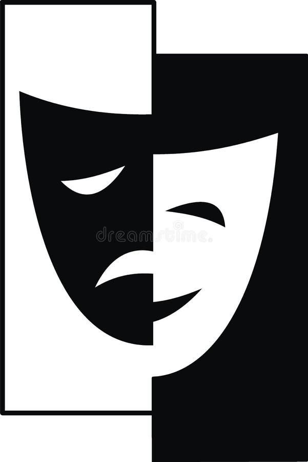 Máscaras de teatro - tragedia y comedia fotografía de archivo libre de regalías