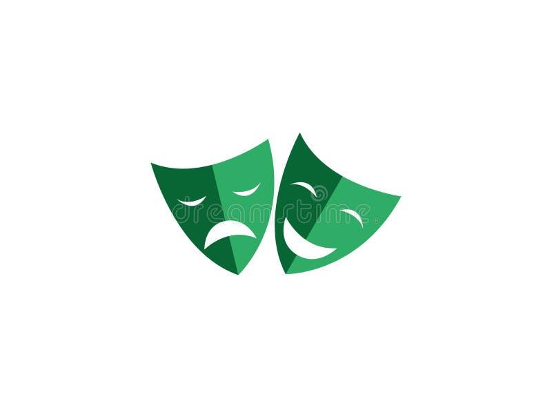 Máscaras de teatro una cara doble caras felices y tristes de dos para el logotipo ilustración del vector
