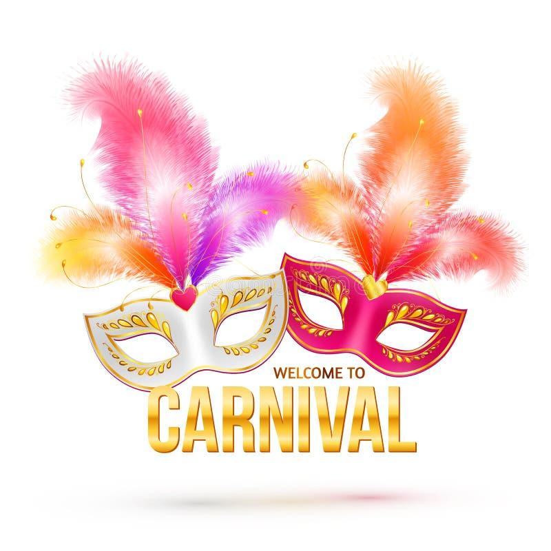 Máscaras del carnaval con las plumas y de oro brillantes ilustración del vector