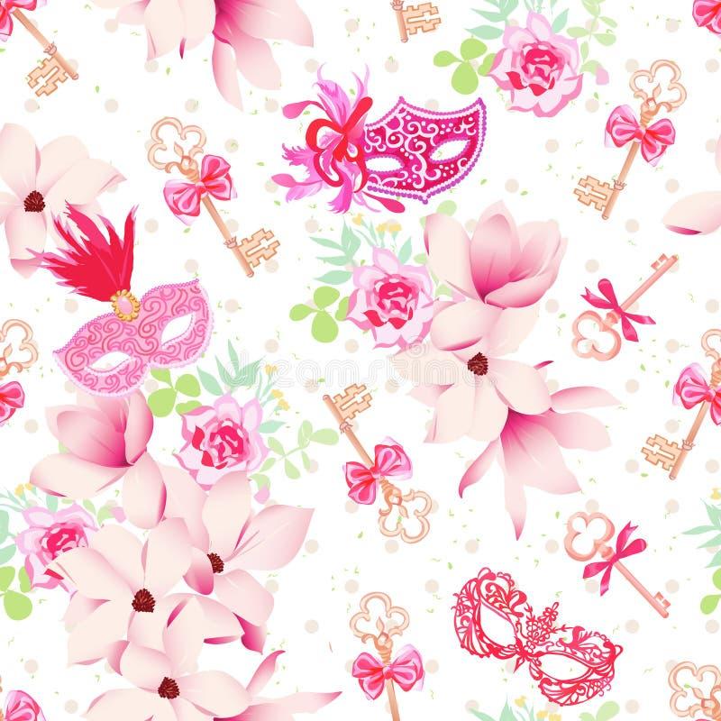 Máscaras del carnaval del encanto, llaves del vintage y ramos florales con el pi ilustración del vector