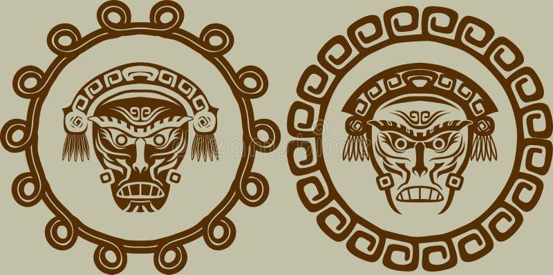 Máscaras del nativo americano stock de ilustración