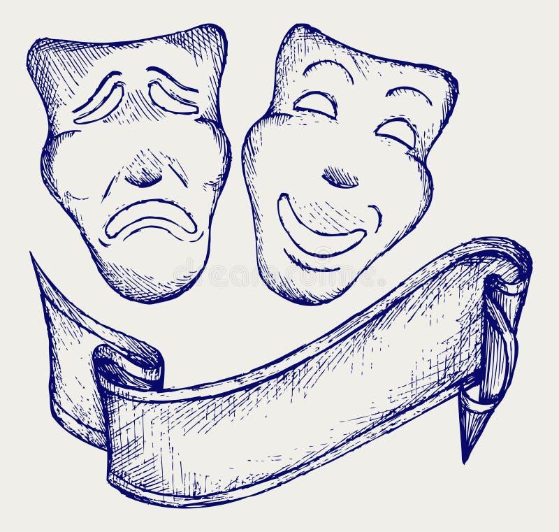 Máscaras del teatro de la comedia y de la tragedia libre illustration