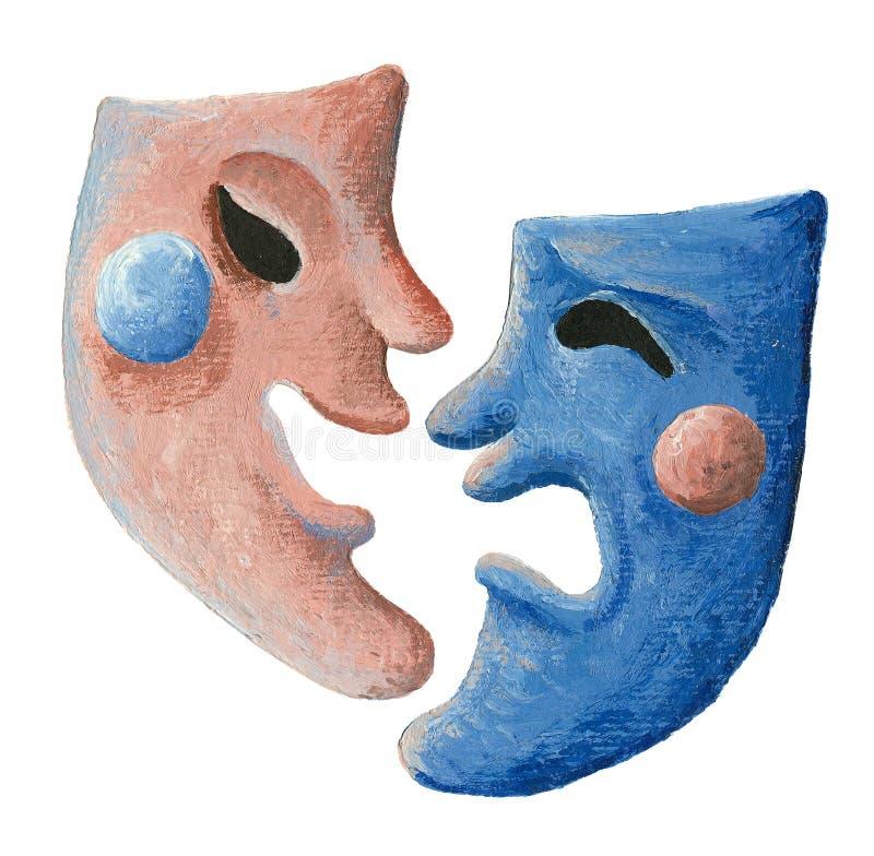 Máscaras del teatro de la comedia y de la tragedia stock de ilustración