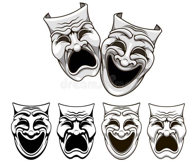 Máscaras del teatro de la tragedia y de la comedia ilustración del vector