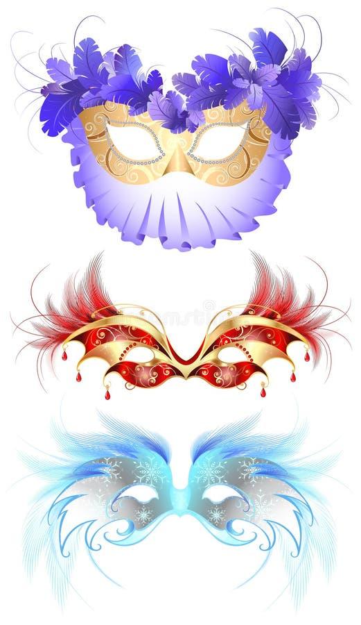 Máscaras do carnaval com penas ilustração stock