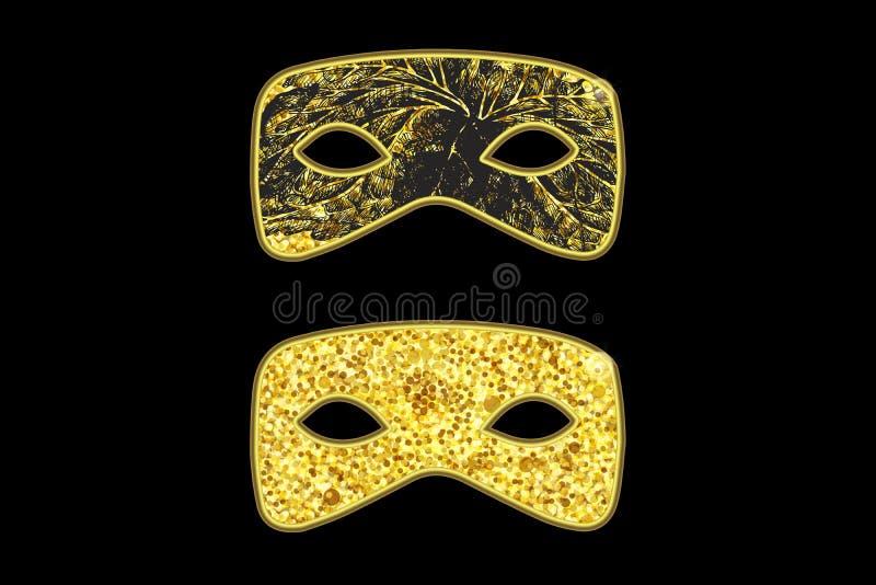Máscaras do disfarce do ouro fotos de stock royalty free