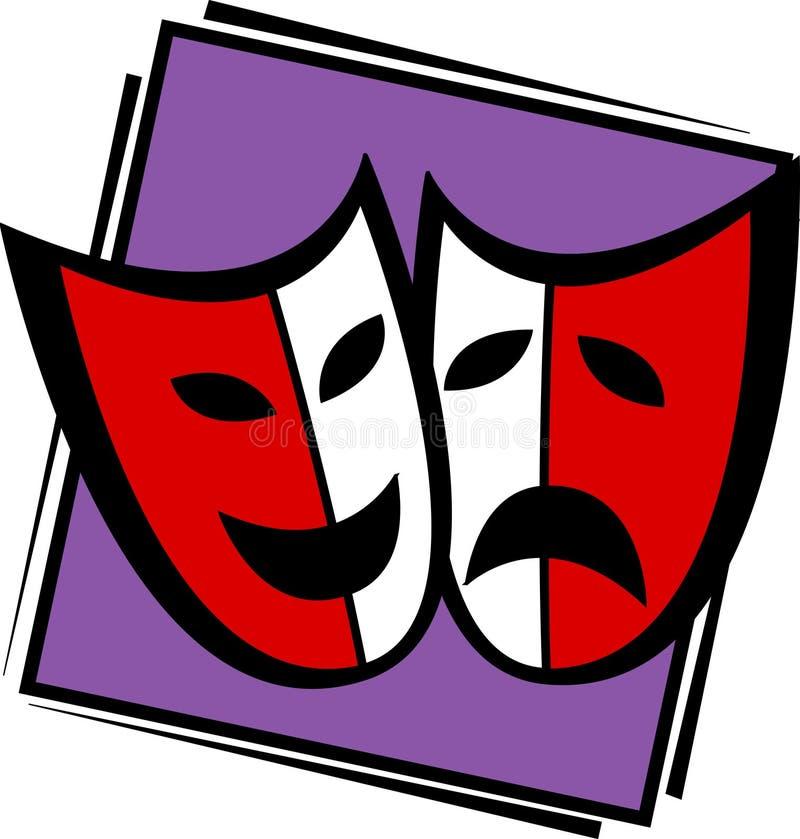 Máscaras do drama do teatro ilustração stock