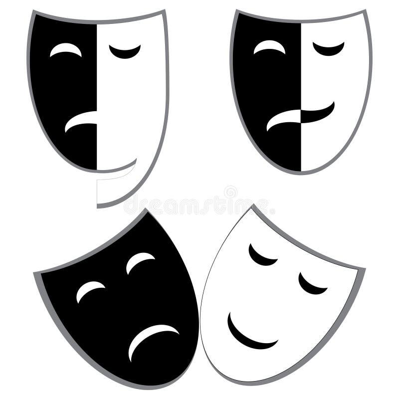 Máscaras do drama e da comédia ilustração stock