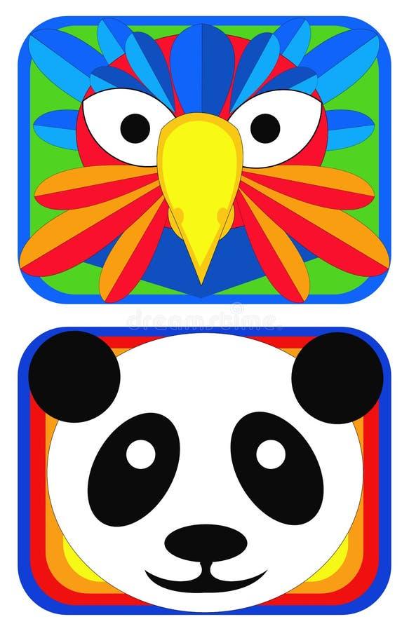 Máscaras do pássaro e da panda