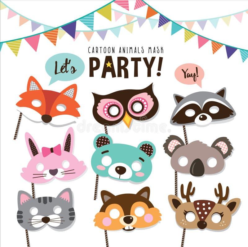 Máscaras do partido dos animais ilustração royalty free