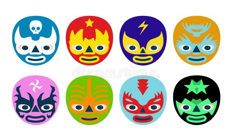 Máscaras dos lutadores ilustração royalty free