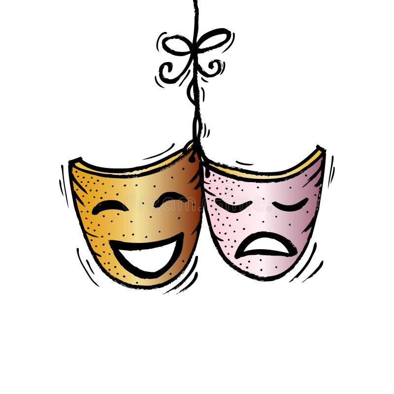 Máscaras, drama y comedia del teatro stock de ilustración