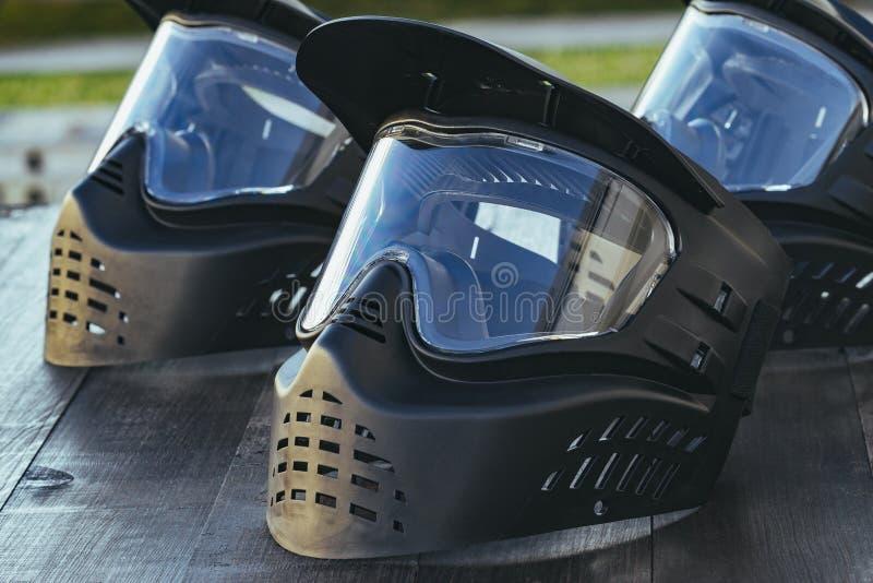 Máscaras extremas del equipo protector del deporte de Paintball foto de archivo libre de regalías