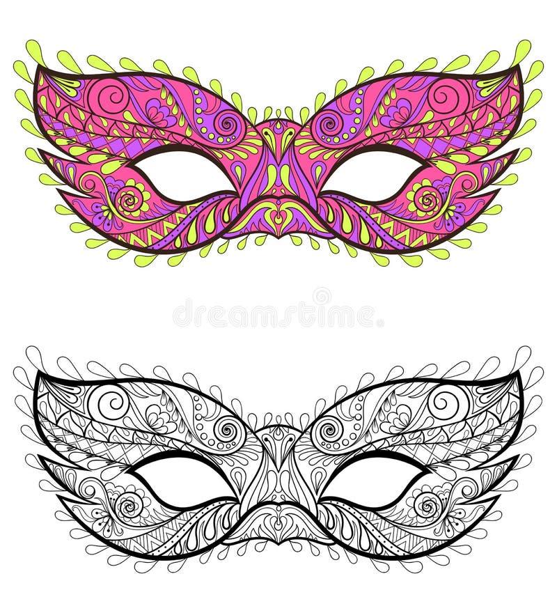 Máscaras festivas bohemias fijadas Elementos decorativos del carnaval del vector stock de ilustración