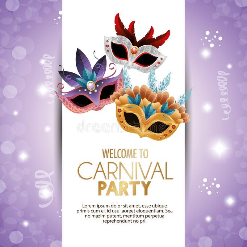 Máscaras lindas del partido agradable del carnaval con el fondo púrpura brillante de las plumas stock de ilustración