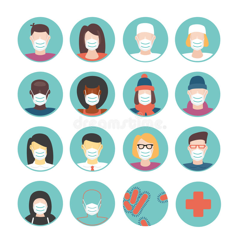Máscaras médicas fijadas stock de ilustración
