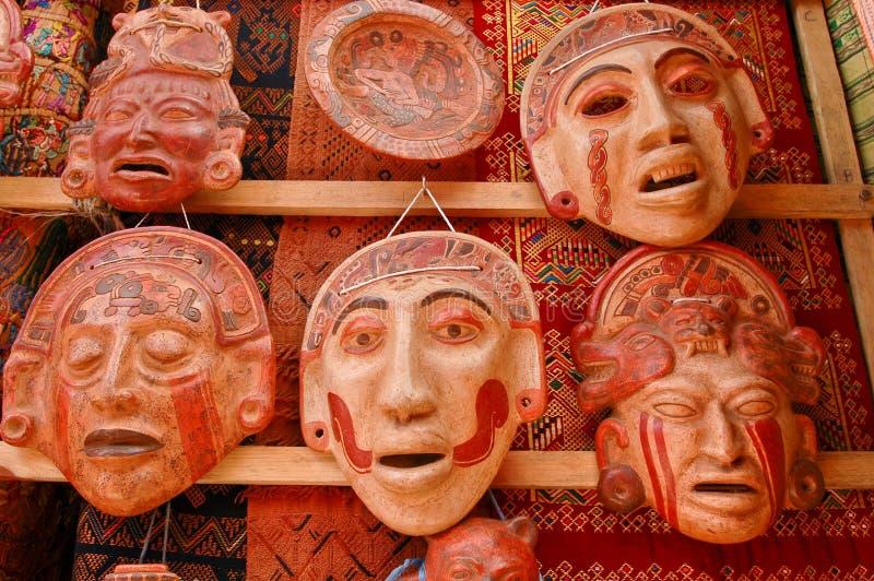 Máscaras mayas de la arcilla fotografía de archivo libre de regalías