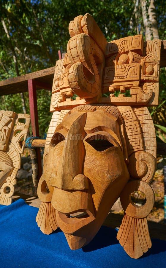 Máscaras mayas de madera de las artesanías del itza de Chichen fotos de archivo libres de regalías