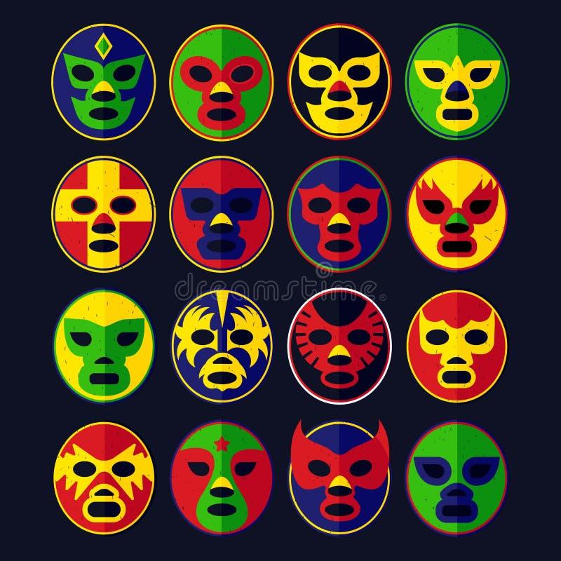 Máscaras mexicanas da luta romana ajustadas ilustração do vetor