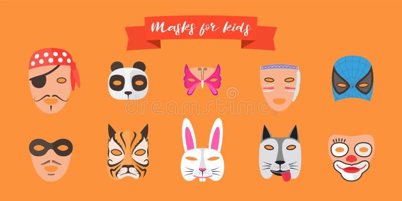 Máscaras para crianças com ilustração do vetor dos animais ilustração do vetor