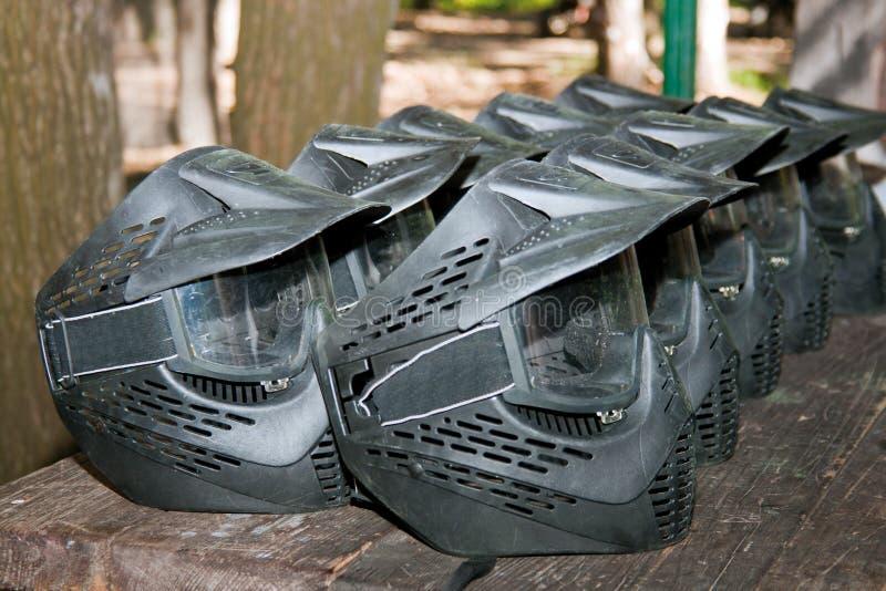 Máscaras protectoras del casco del Paintball fotos de archivo libres de regalías