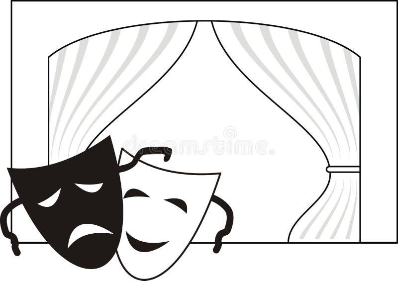 Máscaras teatrais, cena, cortina ilustração royalty free