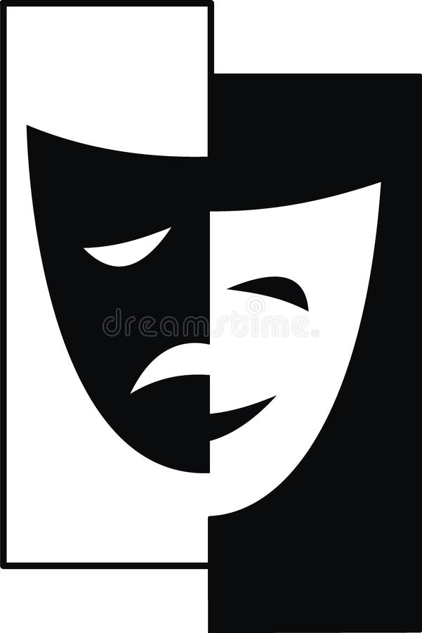Máscaras teatrais - tragédia e comédia ilustração stock