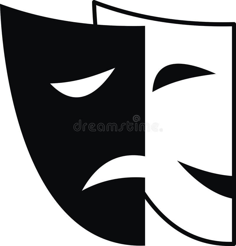 Máscaras teatrais - tragédia e comédia ilustração royalty free