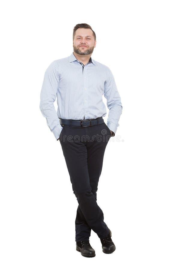 Mâle adulte avec une barbe D'isolement sur le blanc images stock