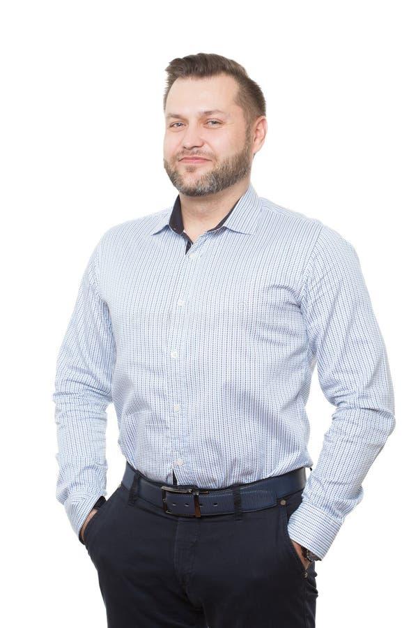 Mâle adulte avec une barbe D'isolement sur le blanc image stock