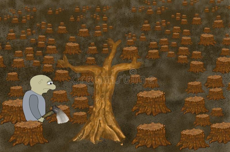 Mâle avec la hache dans la vengeance de forêt de la nature Paysage morne des troncs d'arbre abattus Concept de l'écologie avec le illustration libre de droits