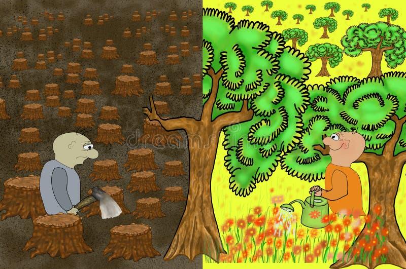 Mâle avec la hache dans la vengeance de forêt de la nature Paysage morne des troncs d'arbre abattus Concept de l'écologie avec le illustration stock