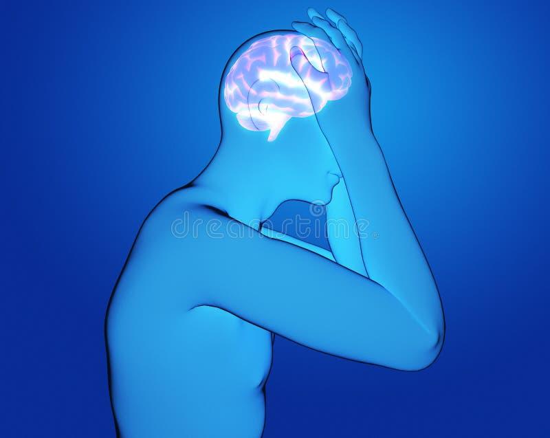 Mâle ayant une illustration de rendu du mal de tête 3d photo stock