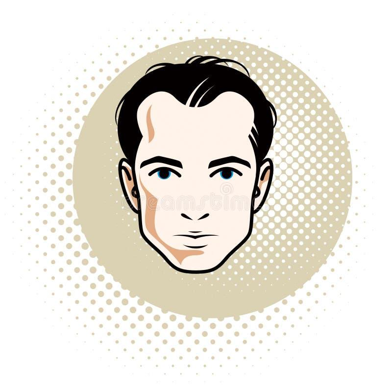 Mâle châtain sûr caucasien, visage attrayant d'homme, bourdonnement de vecteur illustration stock