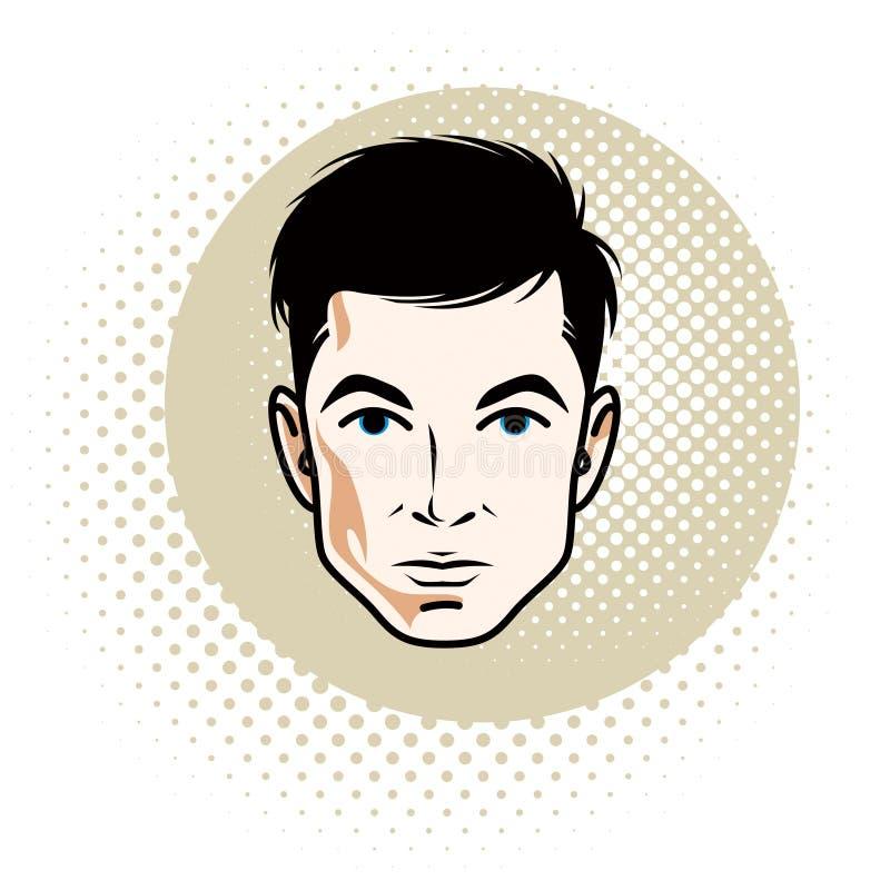 Mâle châtain sûr caucasien, visage attrayant d'homme, vecteur illustration de vecteur